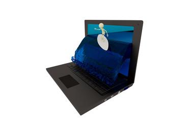 Surfer aus Laptop Screen