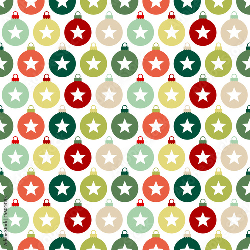 Seamless Pattern Christmas Balls Stars Red/Green