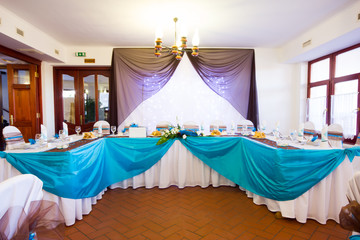 wedding table set with decoration for fine dining