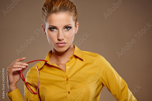 Young businesswoman in autumn colors