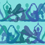 Seamless pattern of yoga poses
