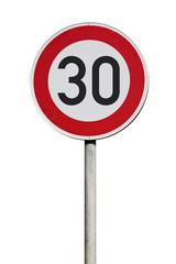 Tempo 30 Verkehrsschild isoliert