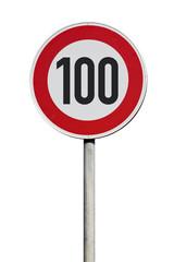 Tempo 100 Verkehrsschild isoliert