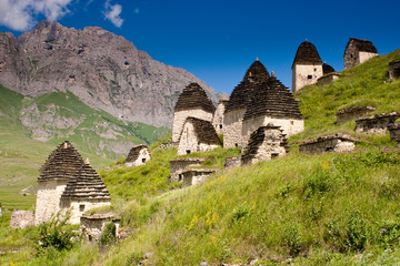 Ruins of ancient settlement in the Caucasus mountains