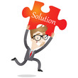 Businessman, jigsaw puzzle, running, solution, idea