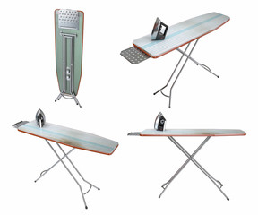 Old ironing board on white background . 3D image