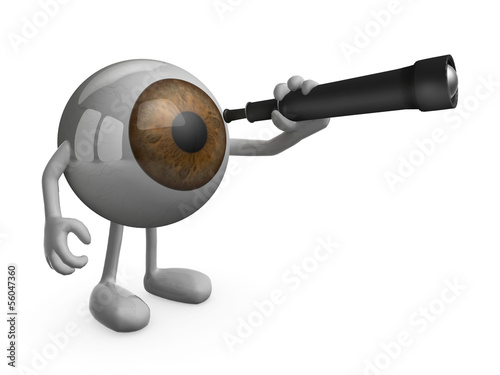 eye with arms legs and telescope