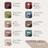 Coffee vector icon set menu. Buttons for web and apps.