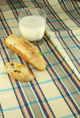 baguette on a napkin whis milk