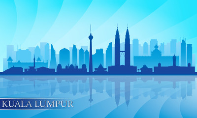 Kuala Lumpur city skyline detailed silhouette