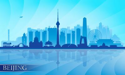 Beijing city skyline detailed silhouette