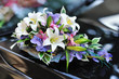 Beautiful bouquet. Wedding flowers decoration on a car