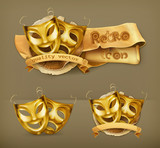 Gold theater masks, icon