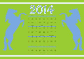 2014 calendar with two horse