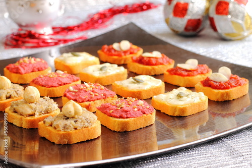 Assortment of canapes on a Christmas table