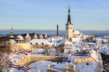 Tallinn city panoramic winter landscape. Estonia