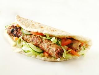 Shish, Kofta kebab naan bread sandwich