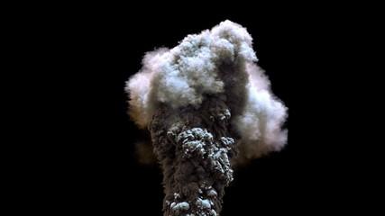 slow motion smoke column fly around isolated on black background