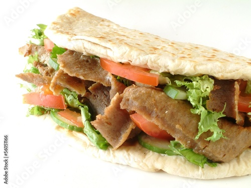 Donner kebab in naan bread with salad