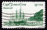 Postage stamp USA 1978 Resolution and Discovery, John Webber