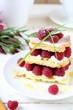 homemade dessert with fresh raspberries