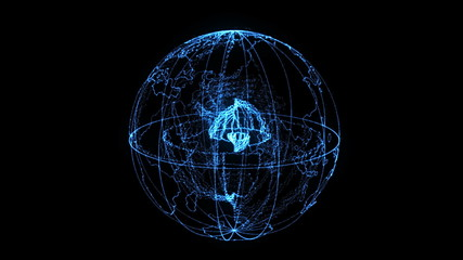 Rotaing earth globe with glowing particle effects