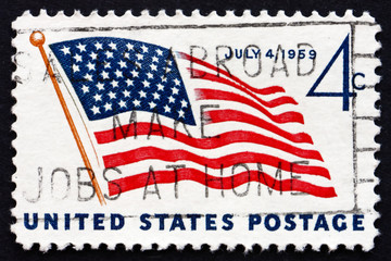 Postage stamp USA 1959 Flag and White House