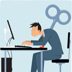 Wind-up overworked employee