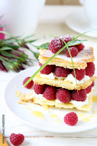 homemade dessert with fresh raspberries