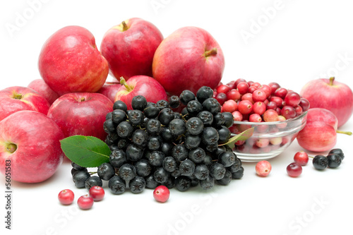 bunch of black chokeberry, cranberry and apple close-up