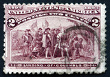 Postage stamp USA 1893 Landing of Columbus
