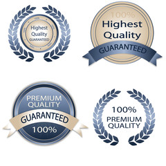 White and blue Premium Quality Labels