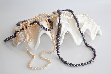 Shells decorated with pearls.