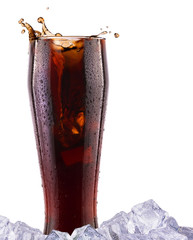 Fresh cola drink background with splash