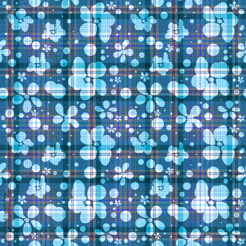 Repeating blue checkered floral pattern