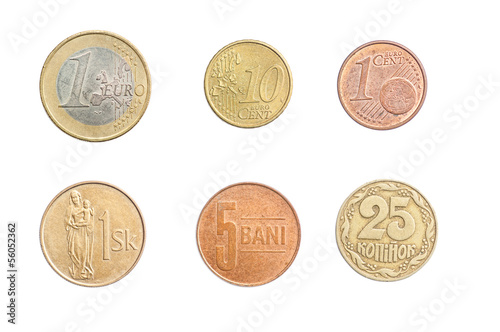 Coins Collection Set Isolated on White Backgound