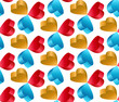3D Flying Heart Abstract Vector Seamless Pattern.