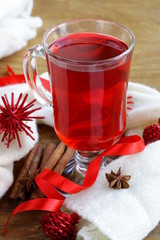 Christmas drink (mulled wine, tea) with cinnamon and star anise