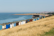 Beach huts along the coast in Kent
