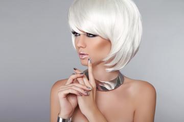 Fashion Beauty Girl. Blond Woman Portrait. Stylish Haircut and M