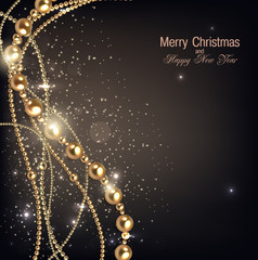 Elegant christmas background with golden garland. Vector illustr