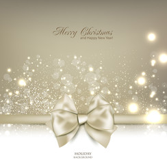 Elegant Christmas background with bow and place for text. Vector
