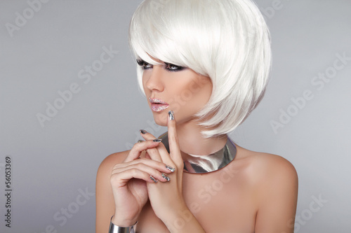 Aluminium Fashion Beauty Girl. Blond Woman Portrait. Stylish Haircut and M