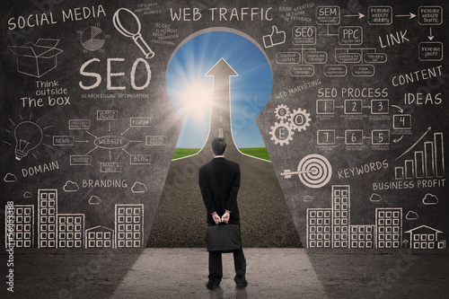 Businessman looking for SEO success road concept