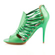 green shoes.  Elegant green shoes on the white