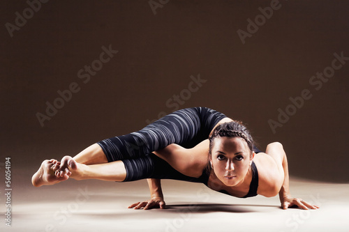 Beautiful woman is working out