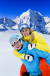 Skiing, winter sports - portrait of young skiers, couple having