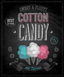 Vintage Cotton Candy Poster - Chalkboard. Vector illustration.