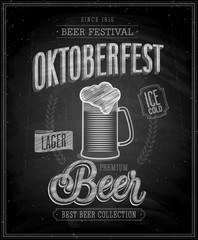 Vintage Beer Brewery Poster - Chalkboard. Vector illustration.