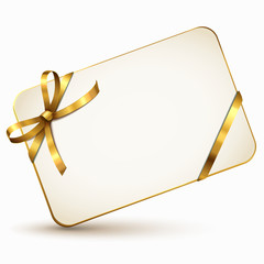 Gutscheinkarte mit goldener Schleife
